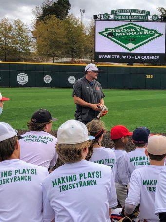 Coach Trent Mongero hosting a live baseball camp